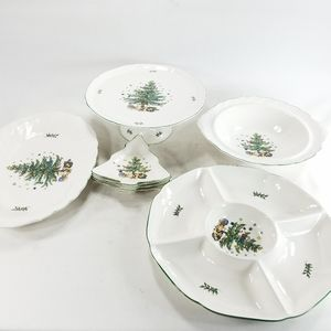 Nikko Japan Holiday X-Mas Serving Tray Platter Set